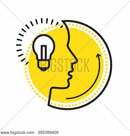 Flat Design Banner. Silhouette Line Human Head With Bulb Vector Illustration. Creative Thinking And
