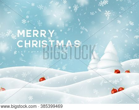 Merry Christmas And Happy New Year. Falling Snowflakes With Snowdrifts, Fir Tree And Decorative Red