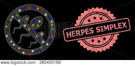 Glowing Mesh Web Forbidden Sperm With Glowing Spots, And Herpes Simplex Grunge Rosette Stamp. Illumi
