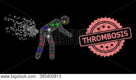 Shiny Mesh Web Farting Person With Light Dots, And Thrombosis Unclean Rosette Stamp Seal. Illuminate