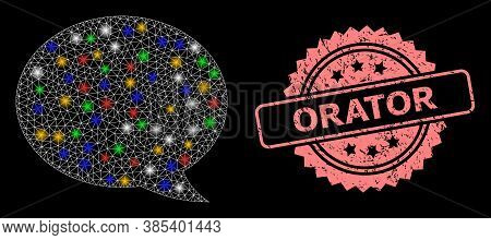 Bright Mesh Net Message Cloud With Bright Dots, And Orator Rubber Rosette Seal Print. Illuminated Ve
