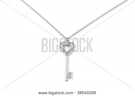 Silver key pendant necklace, Isolated on white