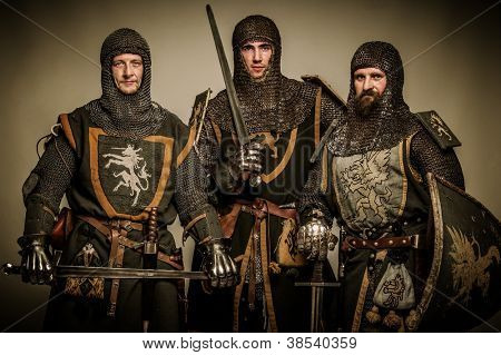 Three medieval knights poster
