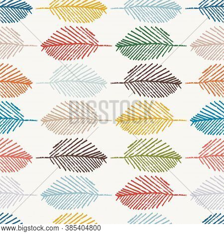Mono Print Style Leaves Seamless Vector Pattern Background. Horizontal Rows Of Colorful Scribble Eff