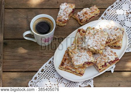 Streusel Pie Stuffed With Rose Jam, Served With Coffee. Rustic Style.