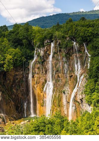 Great Waterfall On The River Plitvice. Plitvice Lakes, Croatia.