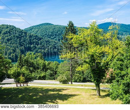 Landscape Of Plitvice Lakes With Tourists. Sunny Day. Plitvice Lakes, Croatia.