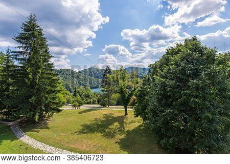 Landscape Area Of Plitvice Lakes. Sunny Day, Clouds. Plitvice Lakes, Croatia.