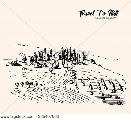 Vector Drawing Of The Village Landscape Of Italy. Freehand Landscape