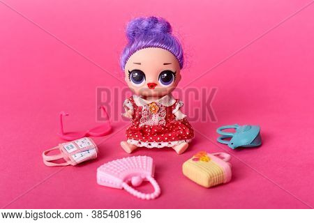 Toys For Girls, Doll With Big Eyes And Lilac Hair, Purple Headed Tiny Doll Surrounded With Small Toy