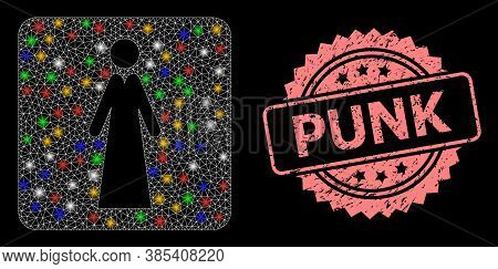 Bright Mesh Net Lady With Light Dots, And Punk Scratched Rosette Seal Print. Illuminated Vector Mesh