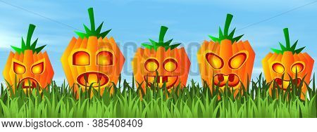 Halloween Pumpkin Faces On The Grass By Beautiful Day - 3d Render
