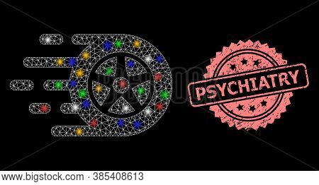 Glowing Mesh Network Car Wheel With Bright Dots, And Psychiatry Unclean Rosette Seal Imitation. Illu