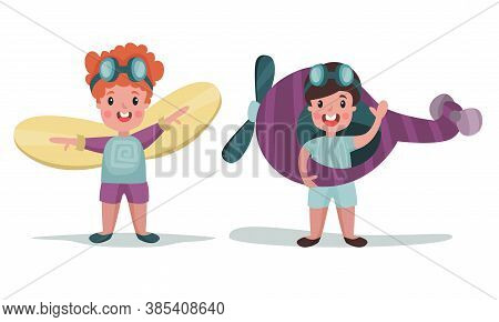 Excited Boys In Pilot Costume Playing With Plane Vector Illustration Set