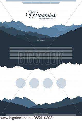 Vector Website Template Design With Blue Mountain Ridge Silhouettes.