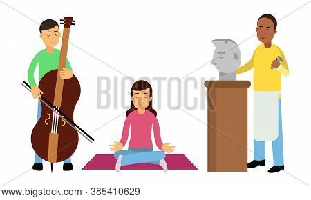 People Characters Playing Cello, Sculpturing And Doing Yoga Vector Illustration Set