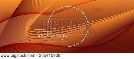 Color Fluid Flow. Orange Dynamic Background. 3d Abstract Shape. Digital Banner. Yellow Fluid Flow. V