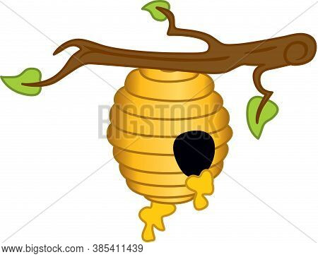 Scalable Vectorial Representing A Honey Hive Hanging On Branch Of Tree, Element For Design, Illustra