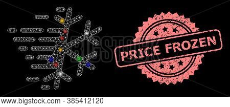 Bright Mesh Net Frost Snowflake With Flash Nodes, And Price Frozen Unclean Rosette Stamp. Illuminate