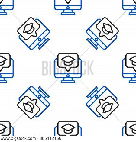 Line Computer Monitor With Graduation Cap Icon Isolated Seamless Pattern On White Background. Online