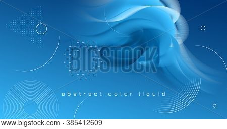 3d Wave Shapes. Fluid Banner. Blue Abstract Wallpaper. Color Futuristic Poster. Vibrant Motion. 3d W
