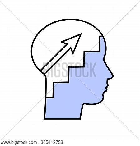 Self Improvement, Next Level, Potential Development, Way To Success. Vector Silhouette Face .isolate