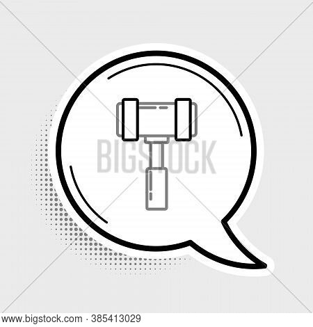 Line Judge Gavel Icon Isolated On Grey Background. Gavel For Adjudication Of Sentences And Bills, Co