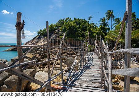 Wooden Bridge Over The River At Haad Thansadet In Phangan Island, Thailand