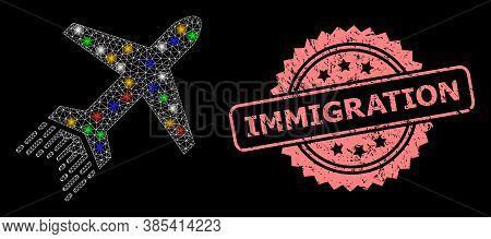 Glare Mesh Net Jet Liner With Flash Nodes, And Immigration Grunge Rosette Seal Print. Illuminated Ve