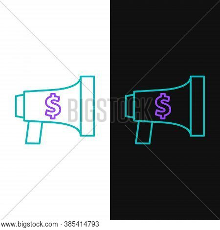 Line Megaphone And Dollar Icon Isolated On White And Black Background. Loud Speach Alert Concept. Bu