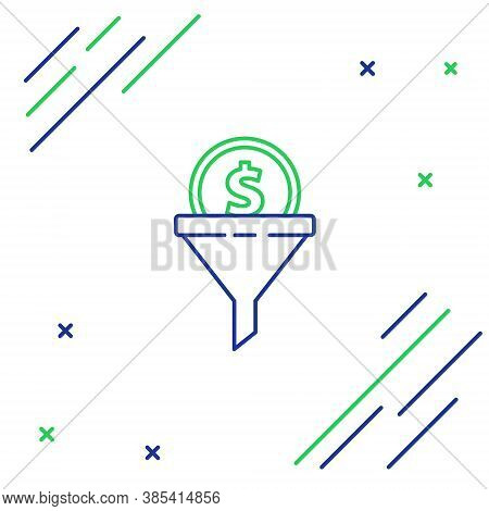 Line Lead Management Icon Isolated On White Background. Funnel With Money. Target Client Business Co