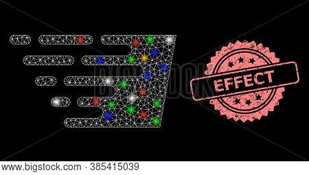 Glowing Mesh Web Fast Effect With Light Dots, And Effect Scratched Rosette Stamp. Illuminated Vector
