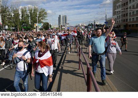 Minsk, Belarus - September 13, 2020. People With Flags, Placards And Banners At A Peaceful Protest I