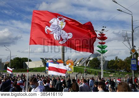 Minsk, Belarus - September 13, 2020. People With Flags At A Peaceful Protest In Minsk Against Dictat