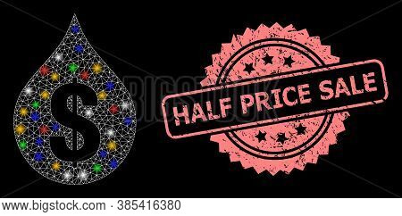 Glare Mesh Web Oil Drop Price With Bright Dots, And Half Price Sale Dirty Rosette Seal Print. Illumi