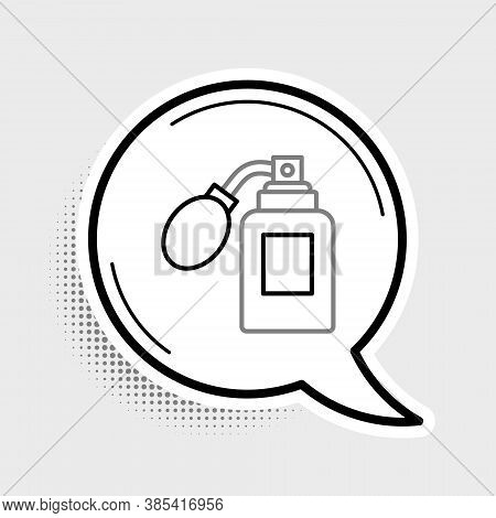 Line Aftershave Bottle With Atomizer Icon Isolated On Grey Background. Cologne Spray Icon. Male Perf