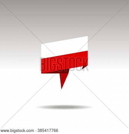 Poland Paper Flag 3d Realistic Speech Bubble On White Background