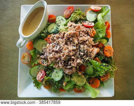 Close-up Of Tuna Salad On White Plate. Food For Good Health. Food Health Concept