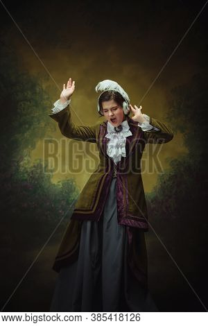 Dancing With Headphones. Modern Trendy Look, Portrait Of Renaissance Period Beautiful Woman. Retro S