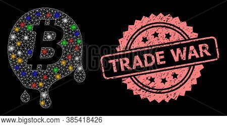 Glowing Mesh Net Melting Bitcoin With Bright Dots, And Trade War Unclean Rosette Stamp Seal. Illumin