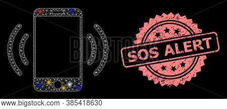 Bright Mesh Network Cellphone Vibration With Light Spots, And Sos Alert Rubber Rosette Stamp Seal. I