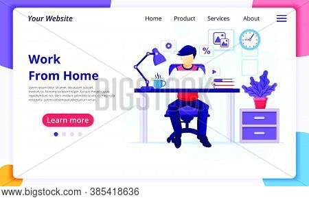 Work From Home Concept, A Man Sitting At Desk And Work On Laptop, Stay At Home, Quarantine During Th