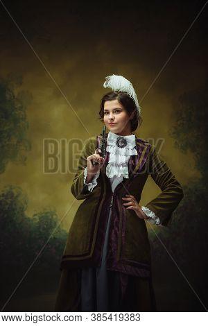 Shoting Gun, Killer. Modern Trendy Look, Portrait Of Renaissance Period Beautiful Woman. Retro Style