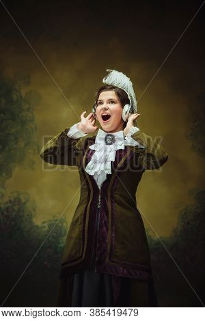 Excited Listening To Music. Modern Trendy Look, Portrait Of Renaissance Period Woman. Retro Style, C