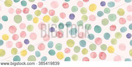 Seamless Polka Background. Abstract Holiday Confetti. Multicolor Invitation Design. Watercolor Fun R