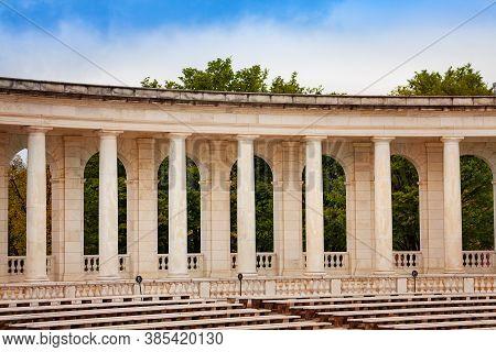 Column, Benches And Scene The Arlington Memorial Amphitheater At National Cemetery, Virginia With Da