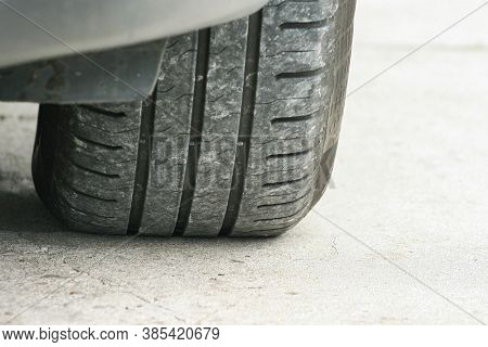 Car Tire Tread And Tread Depth. Vehicle Tire. Tire Wear Concept. Danger Of Using Old Car Bald Tire.
