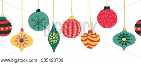 Christmas Ornaments Seamless Vector Border. Repeating Banner Background With Hanging Christmas Baubl
