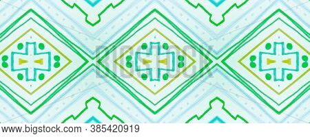 Seamless Tribal Background. Green Mexican Ethnic Wallpaper. Drawn By Pen Shibori Texture. Geometric