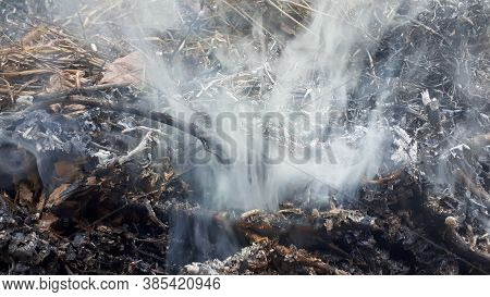 White Smoke After Bonfire. Abstract Background Concept.